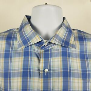 Peter-Millar-Collection-Mens-Blue-Plaid-Check-Dress-Button-Shirt-XL-Extra-Large