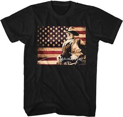 John Wayne The Duke Colored Flag Adult T Shirt TV Movies