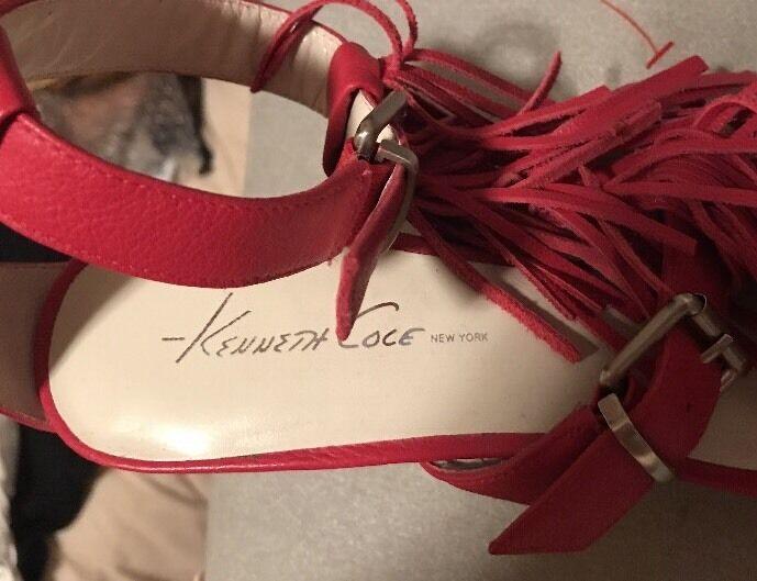 KENNETH COLE NY Fringe Open Open Open Toe HOT Rosa High Heels Stilettos, Größe 7 Display b7ba00