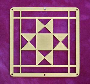 Mini-Barn-Quit-Small-Metal-2-5-034-Bronze-Quilt-Block-Ohio-Star-Pattern