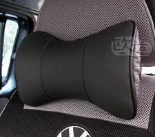 2pcs Black Universal Auto Seat Cow Leather Protect Neck Rest Belt Headrest Pads