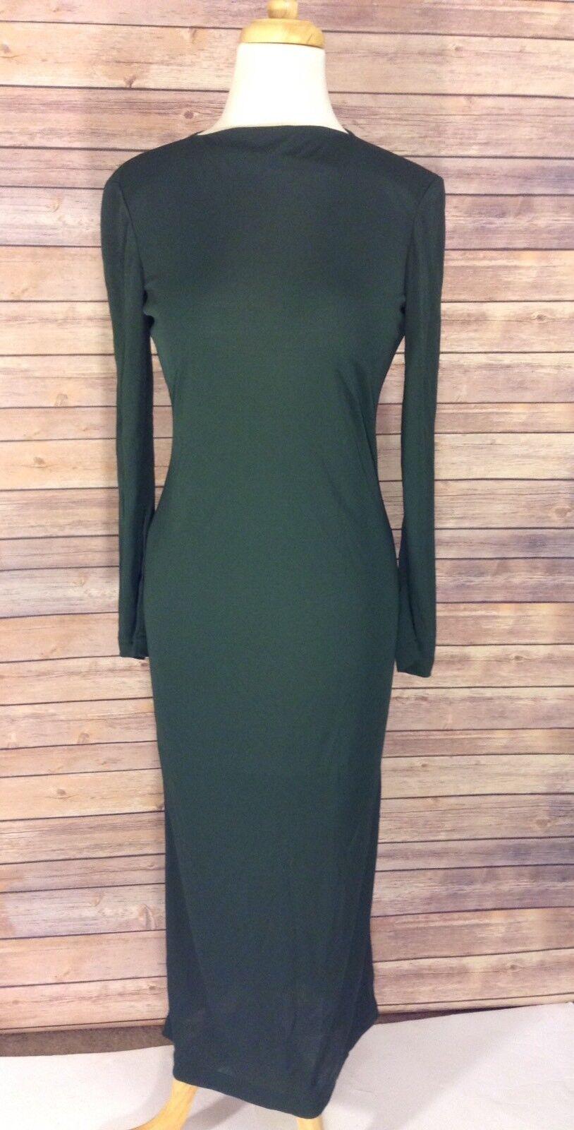 Joan Joan Joan and David Green Vintage Long Sleeve Sheer Dress Size 8 a879ae