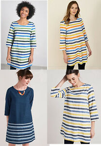 Seasalt-Striped-Boat-Neck-3-4-Sleeve-Linen-Cotton-Tunic-Top-dress-12-14-16-18-20