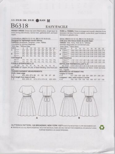 From UK Sewing Pattern 1960/'s style Dress Size 6-14 # 6318