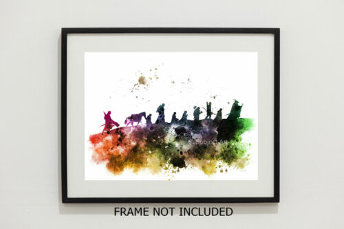 Movie ART PRINT Lord of the Rings Wall Art The Fellowship illustration Gift
