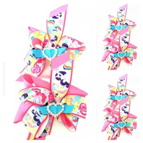 Handmade Girl My Little Pony Double Hair Bow Bobbles with Gems  Sold In Pairs