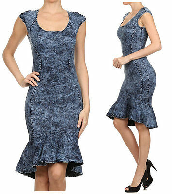 DARK BLUE ACID WASH JEAN HOURGLASS BODYCON MERMAID RUFFLE DENIM MIDI DRESS