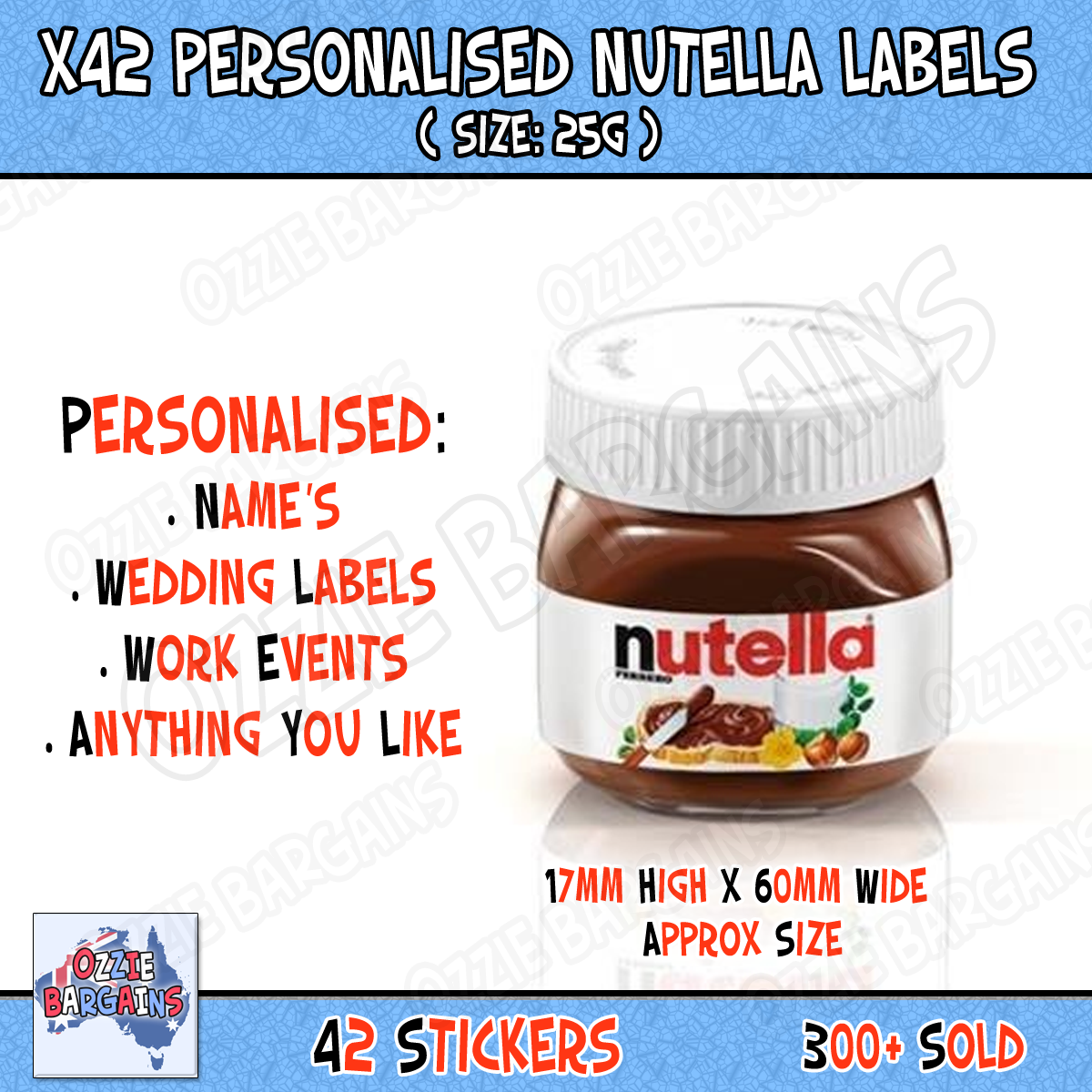 Details about x42 nutella personalised nutella labels make your own label 25g