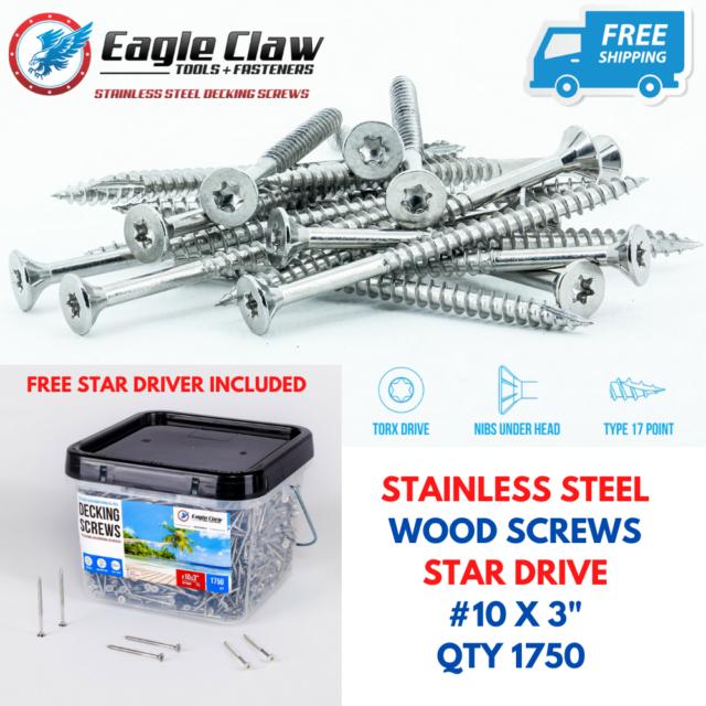 "#10 x 3-1//2/"" Deck Screws Stainless Steel Square Drive Wood Screws Bulk 500"