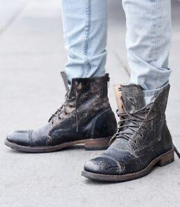 BED Stu Men's Protege Black Lux Wash Distressed Zip Leather Boots   eBay