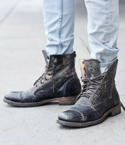 BED Stu Men/'s Protege Black Lux Wash Distressed Zip Leather Boots