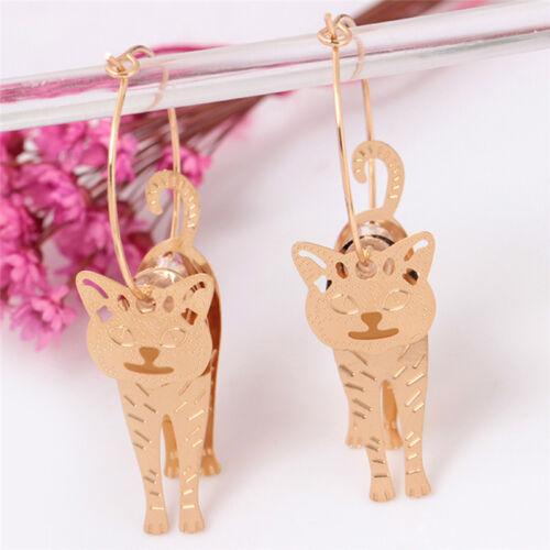 Gold Circle Animal Cat Pendant Earrings Pearl Hook Drop Dangle Earrings WH