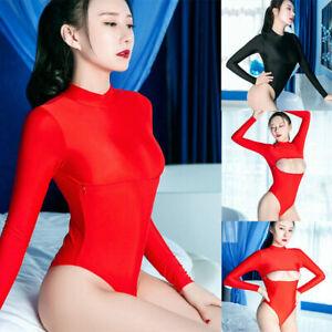 Women/'s 2-Way Zipper Open Cup Lingerie Babydoll Thong Leotard Bodysuit Jumpsuit