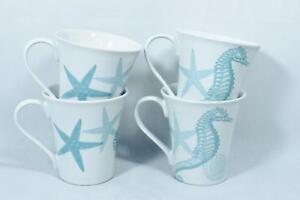 Image Is Loading 222 Fifth Coastal Life Blue Porcelain Coffee Mugs