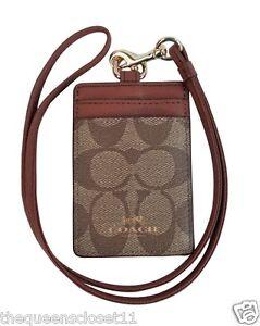 Coach Signature PVC Lanyard ID Key Holder Card Case NWT $65 Khaki Saddle F63274