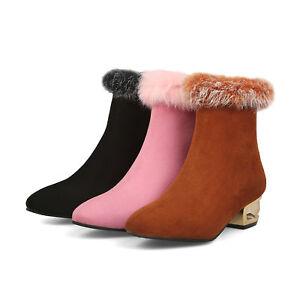 Women-Chunky-Heel-Ankle-Boots-Fur-Trim-Side-Zip-Faux-Suede-Furry-Elegant-Shoes-D