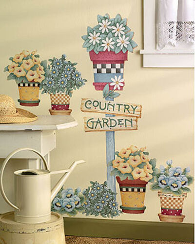 Flowers Flower Pots Country Garden Sign Post Wall Murals Decals Stickers Borders