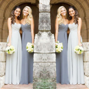 Image Is Loading Silver Gray Chiffon Bridesmaid Dress Long Prom Evening