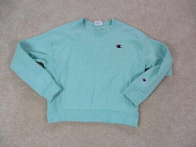 VINTAGE Champion Sweater Womens Medium Green Blue Reverse Weave Ladies 90s *