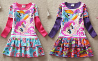 Kid Girl My Little Pony Holiday Xmas Party Long Sleeve Cotton Dress 3-8yrs