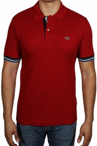 Lacoste Men/'s Piped Two Ply Cotton Pique Polo Shirt Slim Fit S//S PH7119 51 Red
