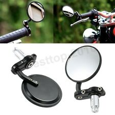 """Black Motorcycle Bikes 3"""" Round 7/8 1 Inch Handle Bar End Rearview Side Mirrors"""