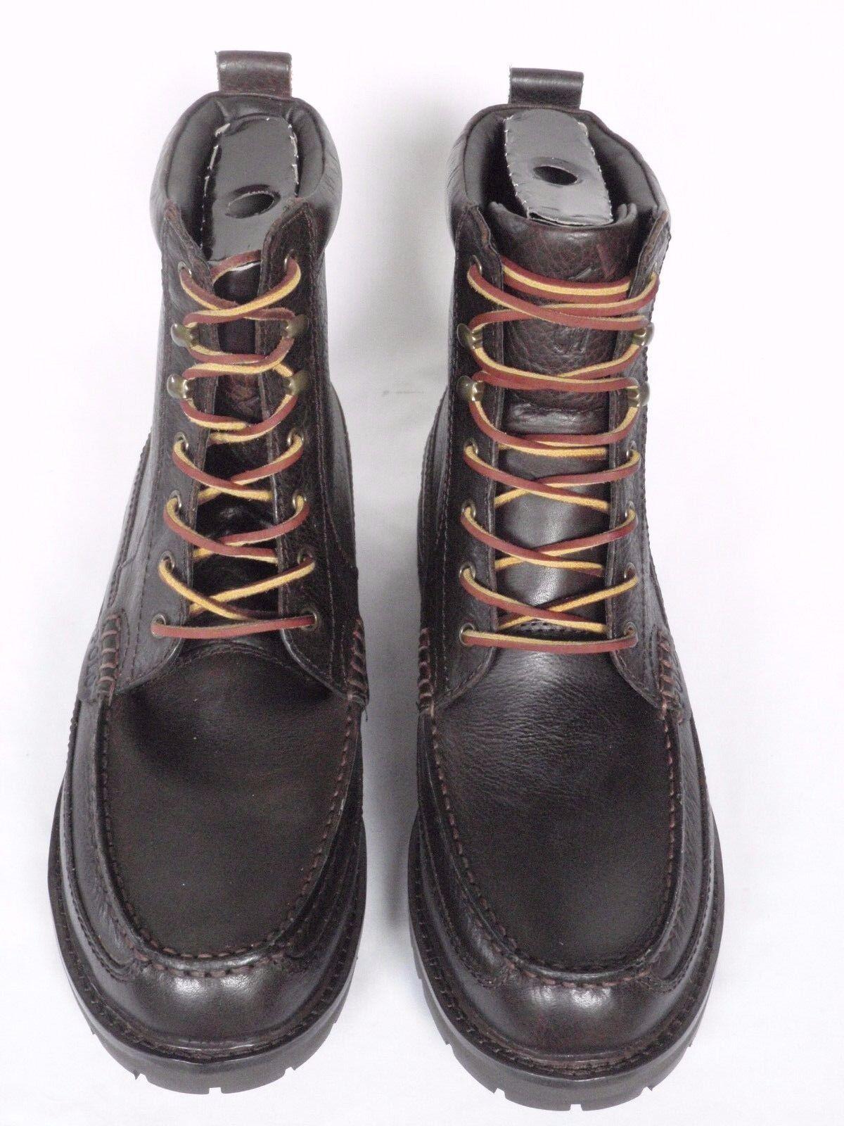 NUOVA linea uomo Ralph Lauren a grana marrone scuro in pelle Stivali e USA 11 RRP