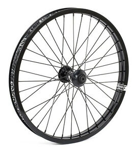 "SHADOW CONSPIRACY SYMBOL 20/"" FRONT WHEEL INCLUDES HUB GUARDS BMX BIKE BLACK NEW"