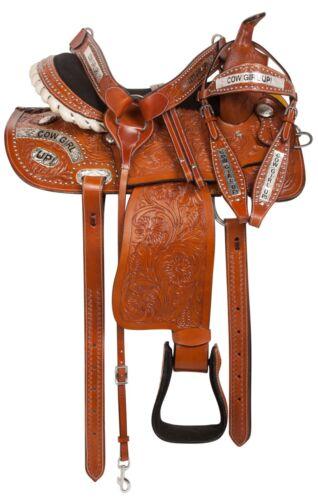 14 15 COWGIRL UP WESTERN PLEASURE TRAIL ENDURANCE HORSE LEATHER SADDLE TACK