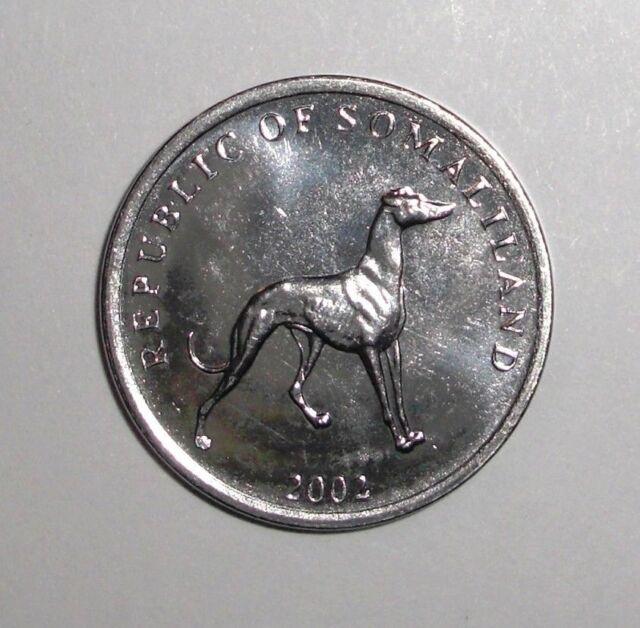 "SOMALILAND  2002  20 SHILLINGS /""GREYHOUND/""  KM6 UNCIRCULATED COIN"