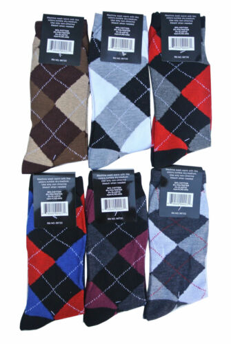 6,12 Pairs LORDS Mens Argyle Dress Socks Cotton Multi-Color Fashion Sz.10-13 NWT