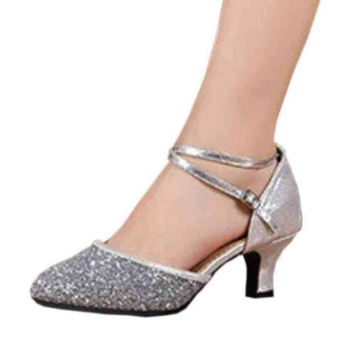 Women/'s Mid-Heel Latin Dance Shoes Buckle Soft Non-Slip Bottom Glitter Shoes