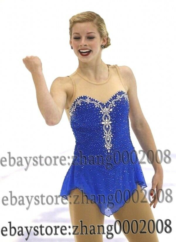 Ice skating dress. bluee Competition Figure Skating dress. Baton Twirling Costume