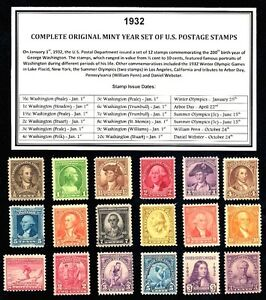 1932-COMPLETE-COMMEMORATIVE-YEAR-SET-OF-MINT-MNH-VINTAGE-U-S-POSTAGE-STAMPS
