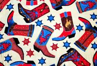 Large 9 Decorated Cowboy Boots & Stars On Beige Fleece Material 2 Yds 60x72