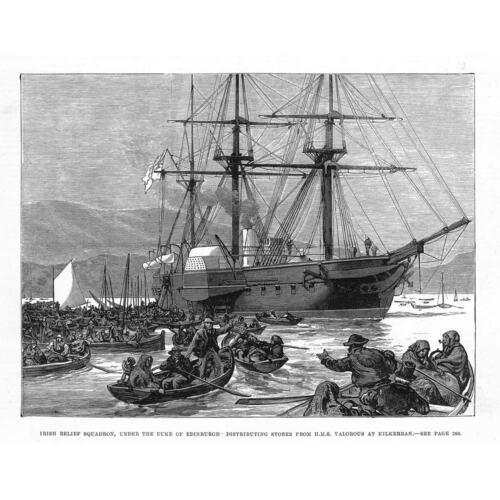 KILKERRAN Irish Relief Squadron Distributing aid from HMS Valorous Print 1880