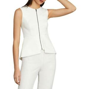 BCBGMAXAZRIA Womens Abrielle White Sleeveless Peplum Top Shirt XXS BHFO 7177