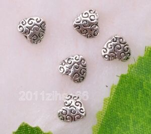 20pcs-Tibetan-Silver-heart-necklace-charm-loose-spacer-beads-6mm-B12