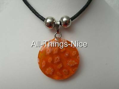 MILLEFIORI Murano Flower Glass 20mm CIRCLE Clear Red Pendant Necklace Jewellery