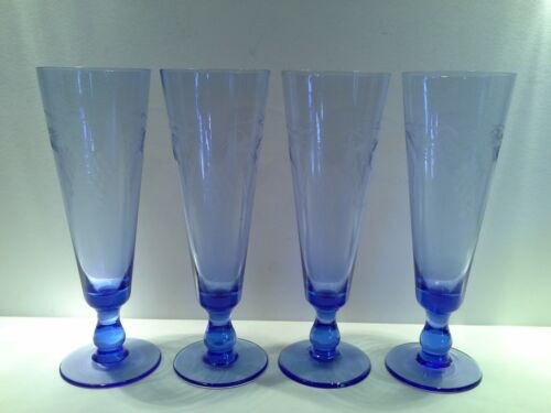 4 Vintage Blue Glass Footed Dessert Tumblers with Etched Grape Motifs