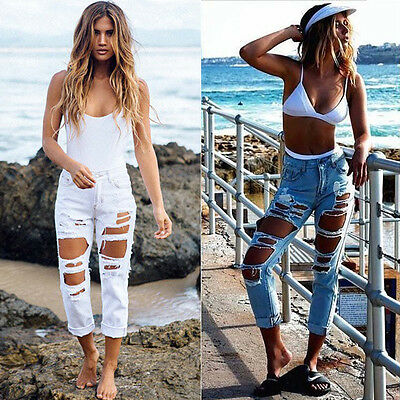 Womens Sexy Boyfriend Ripped Holes Punk Jeans Slim Casual Denim Pants Trousers