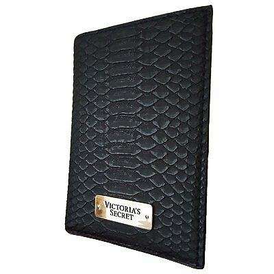 Victorias Secret Black Python Print Passport Cover & ID Card Holder