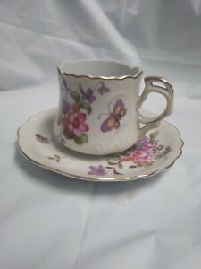 Vintage Lefton China Tea Cup and Saucer Set Pink Floral with Gold Trim  687