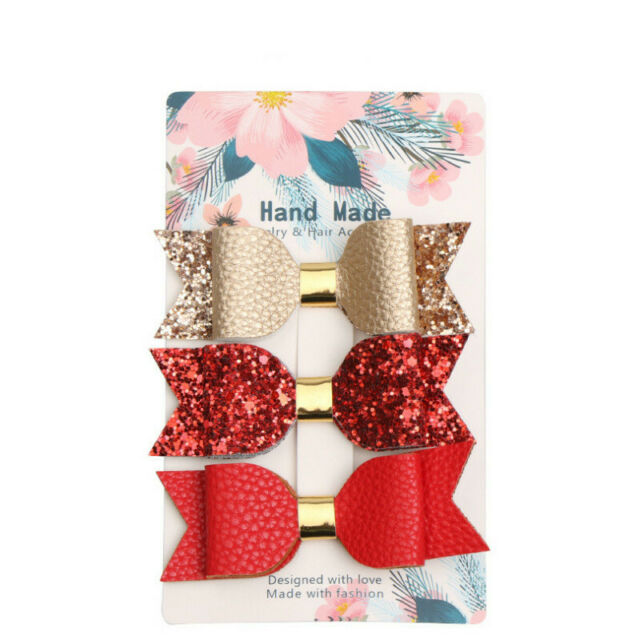 3pc Girl Glitter Hair Clip Rose Gold Sparkly Leather Headband Princess Hairpin l