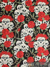 Alexander Henry The Rose Tattoo Black Tea Skulls Novelty Cotton ... : tattoo quilt fabric - Adamdwight.com