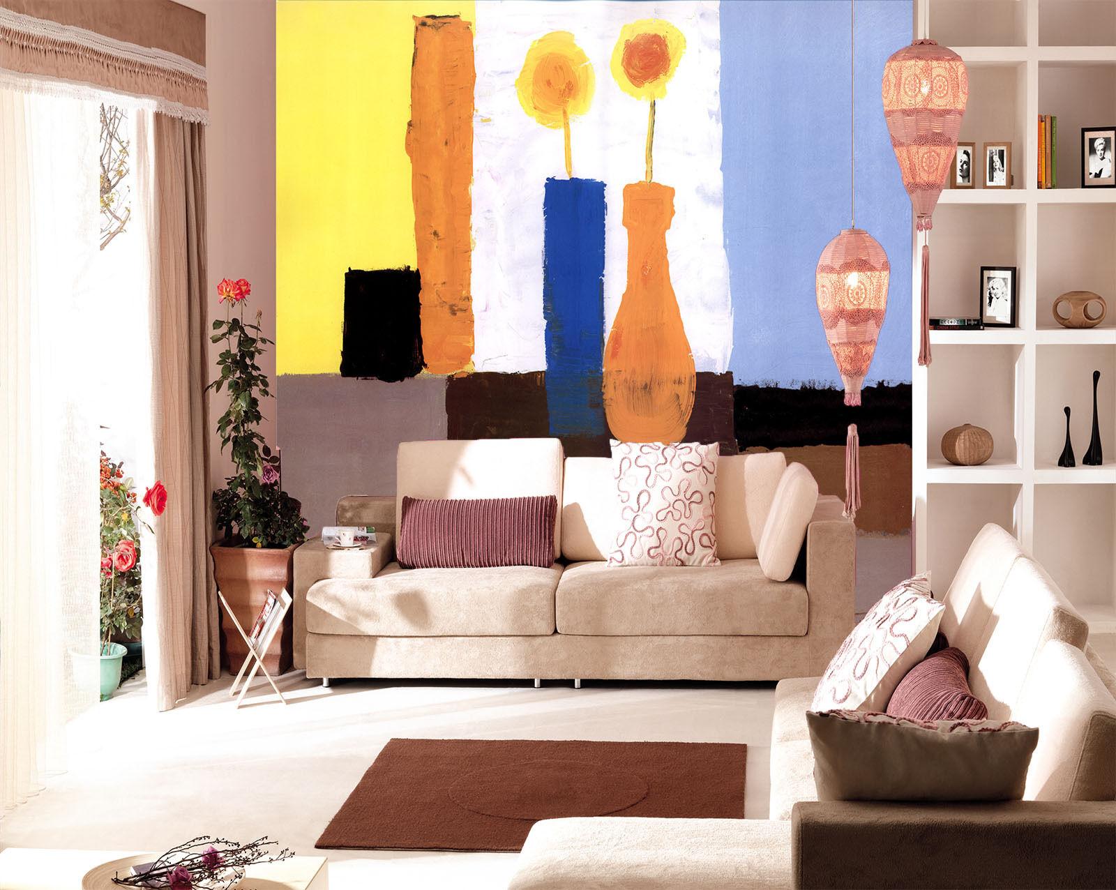 3D Graffiti Farbe Vase Flowers Wall Paper Wall Print Decal Wall AJ WALLPAPER CA