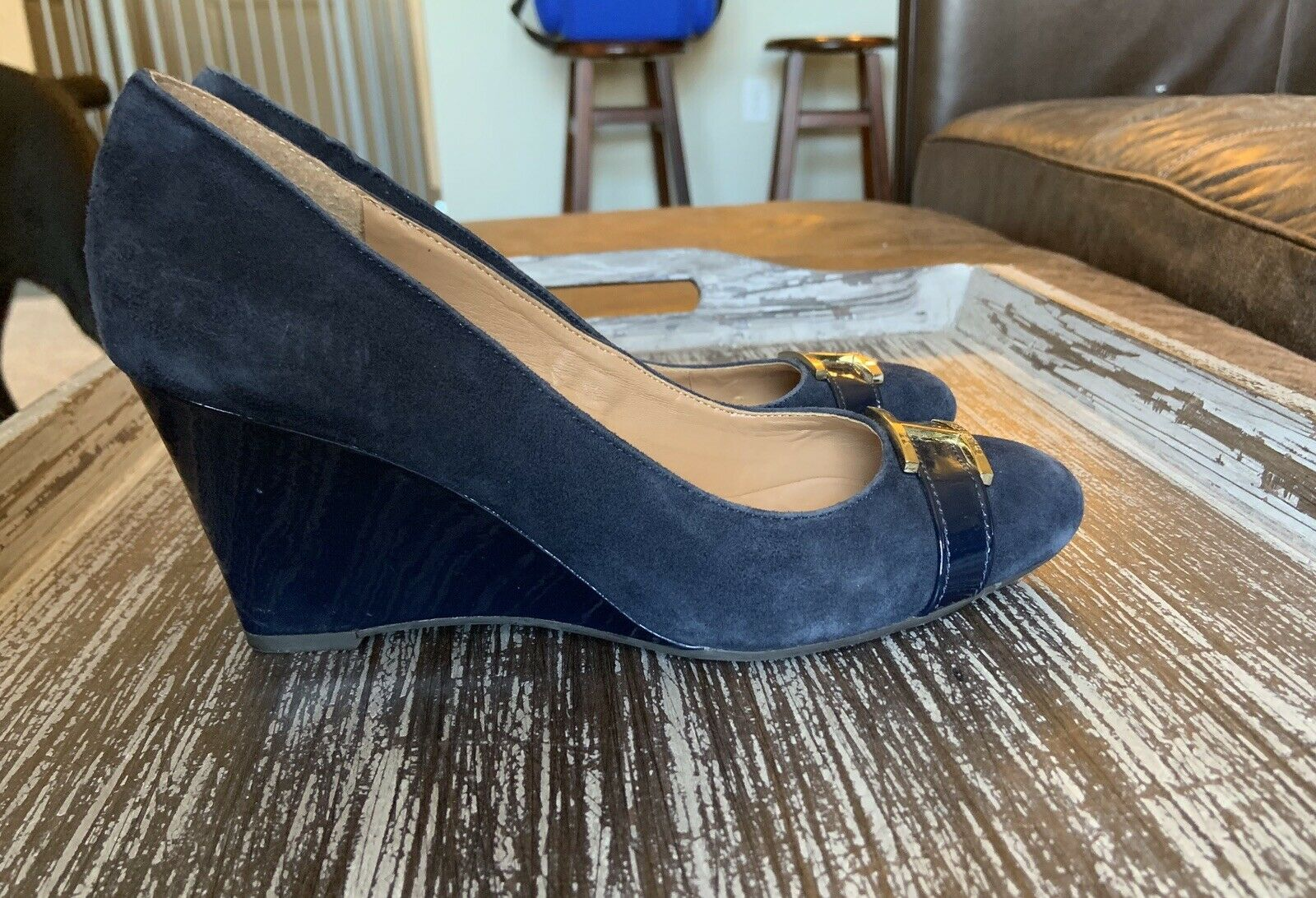 Tommy Hilfiger Twreda Faux Suede Blue Wedges with… - image 4