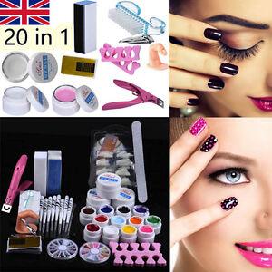 20 In 1 Professional Nail Art Kit Diy Uv Gel Manicure Tips Polish