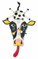 Allen Designs Cow Cream With Tongue Pendulum Childs Kids Whimsical Wall Clock