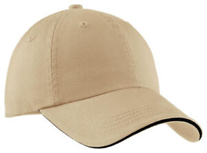 Port-Authority-Cotton-Unstructured-Hat-Sandwich-Low-Profile-Baseball-Cap-C830